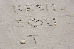 Message d'amour dans le sable Photos stock