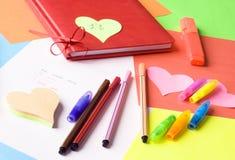 Message d'amour dans quatre langages Images stock