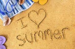 Message d'amour de plage d'été Images libres de droits