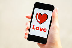 Message d'amour sur le mobile Image stock