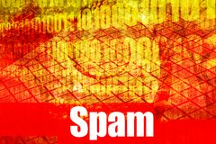 Message d'avertissement d'alerte d'email de Spam Photo stock