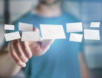 Message d'enveloppe affiché sur une interface futuriste d'email - 3d Photos libres de droits