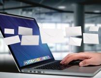 Message d'enveloppe affiché sur une interface futuriste d'email - 3d Photo libre de droits