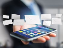 Message d'enveloppe affiché sur une interface futuriste d'email - 3d Image libre de droits