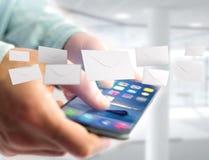 Message d'enveloppe affiché sur une interface futuriste d'email - 3d Photos stock