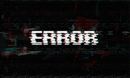 Message d'erreur, problème, illustration de vecteur de défaillance du système, fond noir d'effet de problème illustration stock