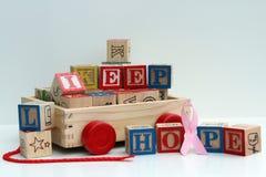 Message d'espoir dans les blocs en bois Photographie stock libre de droits