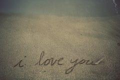 Message dans le sable Photographie stock