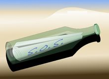 Message dans une bouteille - S.O.S. Images libres de droits