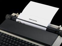 Message de bulletin d'information introduit par la machine à écrire de vintage Images libres de droits