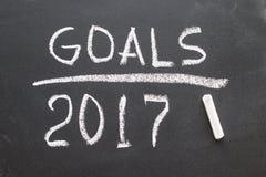 Message de 2017 buts écrit sur le tableau noir Images libres de droits