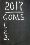 Message de 2017 buts écrit sur le tableau noir Images stock
