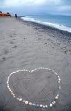 Message de coeur à la plage Photo stock