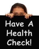 Message de contrôle de santé affichant l'examen médical Photo stock