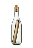 Message de défilement dans la bouteille Image stock