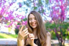Message de dactylographie de femme sur le smatrphone avec le fond de fleur Photos libres de droits