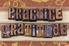 Message de gratitude de pratique en matière d'impression typographique Photos stock