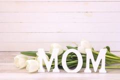 Message de jour de mères avec des tulipes sur le fond en bois blanc Photos libres de droits