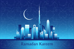 Message de kareem de Ramadan sur l'horizon de ville de Dubaï illustration de vecteur