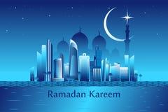 Message de kareem de Ramadan sur le backgroun de points de repère de ville de l'Abu Dhabi Photos stock