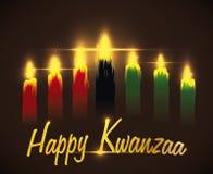 Message de Kwanzaa de salutation avec les bougies traditionnelles, illustration de vecteur illustration stock