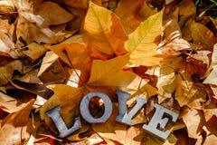 Message de l'amour avec des lettres en métal Photographie stock libre de droits