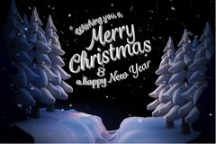 Message de Noël sur Forest Background Design Photos stock
