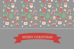 Message de Noël sur Grey Background Design Images stock