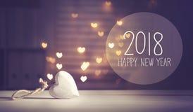 Message 2018 de nouvelle année avec un coeur blanc Images libres de droits