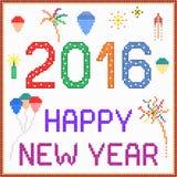 Message 2016 de pixel de nouvelle année Photographie stock