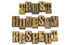 Message de respect d'honnêteté de confiance d'impression typographique photographie stock