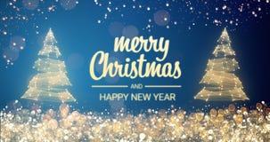 Message de scintillement de salutation de Joyeux Noël et de bonne année d'arbre de Noël de lumières d'or et d'argent sur le fond  illustration de vecteur