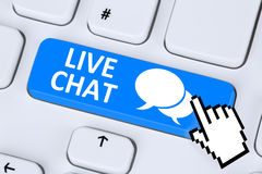 Message de service client de communication de contact de Live Chat photo stock