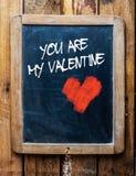 Message de Valentine sur le tableau de vintage Photo libre de droits