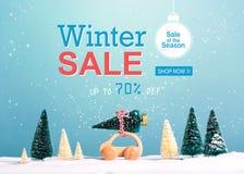 Message de vente d'hiver avec la voiture portant un arbre de Noël photos stock