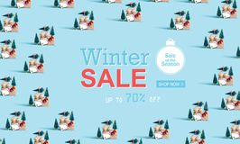 Message de vente d'hiver avec les arbres de Noël de transport de voiture illustration stock
