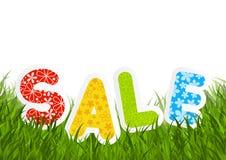 Message de vente sur l'herbe verte Image stock