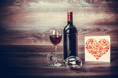 Message de vin rouge et d'amour Photos stock