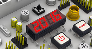 2016. The message on the display electronic circuit board. Red 2016 message on the electronic display of circuit board Royalty Free Stock Photography