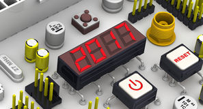 2017. The message on the display electronic circuit board. Red message on the electronic display of circuit board. 3D Illustration Stock Photography