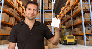 Message at distribution warehouse c Stock Photo