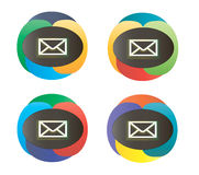 Message dual-color icons. Set of colorful email envelope buttons over white background Stock Photography