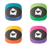 Message dual-color icons. Set of colorful email envelope buttons over white background Stock Image
