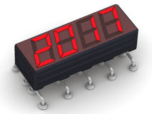 2017. Message on the electronic display. Red 2017 message on the electronic display. . 3D Illustration Stock Image