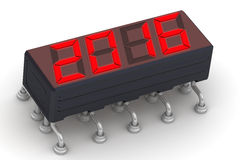 2016. Message on the electronic display. Red 2016 message on the electronic display. Isolated on a white surface Royalty Free Stock Photography
