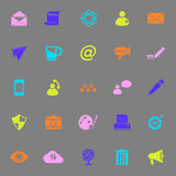 Message and email color icons on gray background Stock Photos