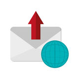 Message envelope and earth globe diagram  icon Stock Image