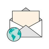 Message envelope and  earth globe  icon Stock Image