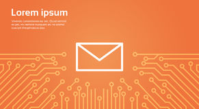 Message Envelope Icon Over Computer Chip Moterboard Background Banner Royalty Free Stock Photography