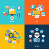 Message, fax, social network and support icons. Message, fax, services and support icons in flat design. Set for web and mobile applications of office work Royalty Free Stock Images